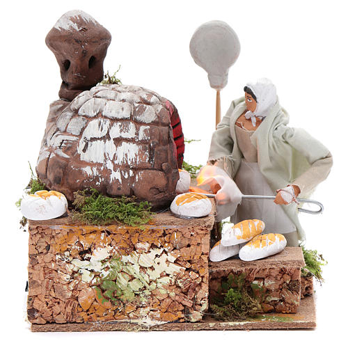 Animated nativity scene figurine, 8 cm baker with 2 LED 1