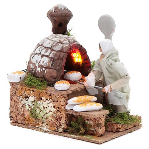 Animated nativity scene figurine, 8 cm baker with 2 LED 2
