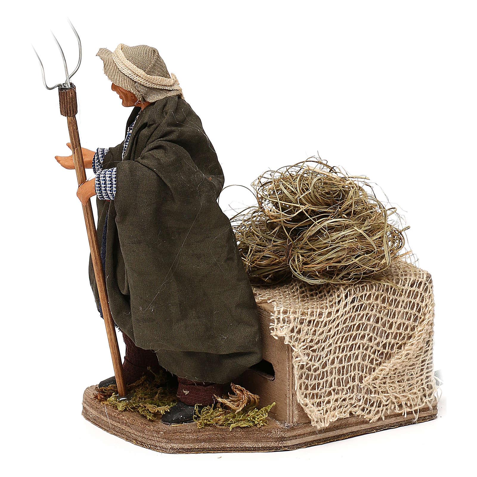 Santon animé crèche napolitaine12 cm, paysan 4