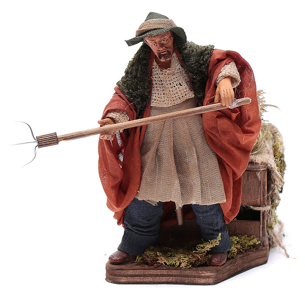 Animated Nativity scene figurine, farmer, 12 cm 4