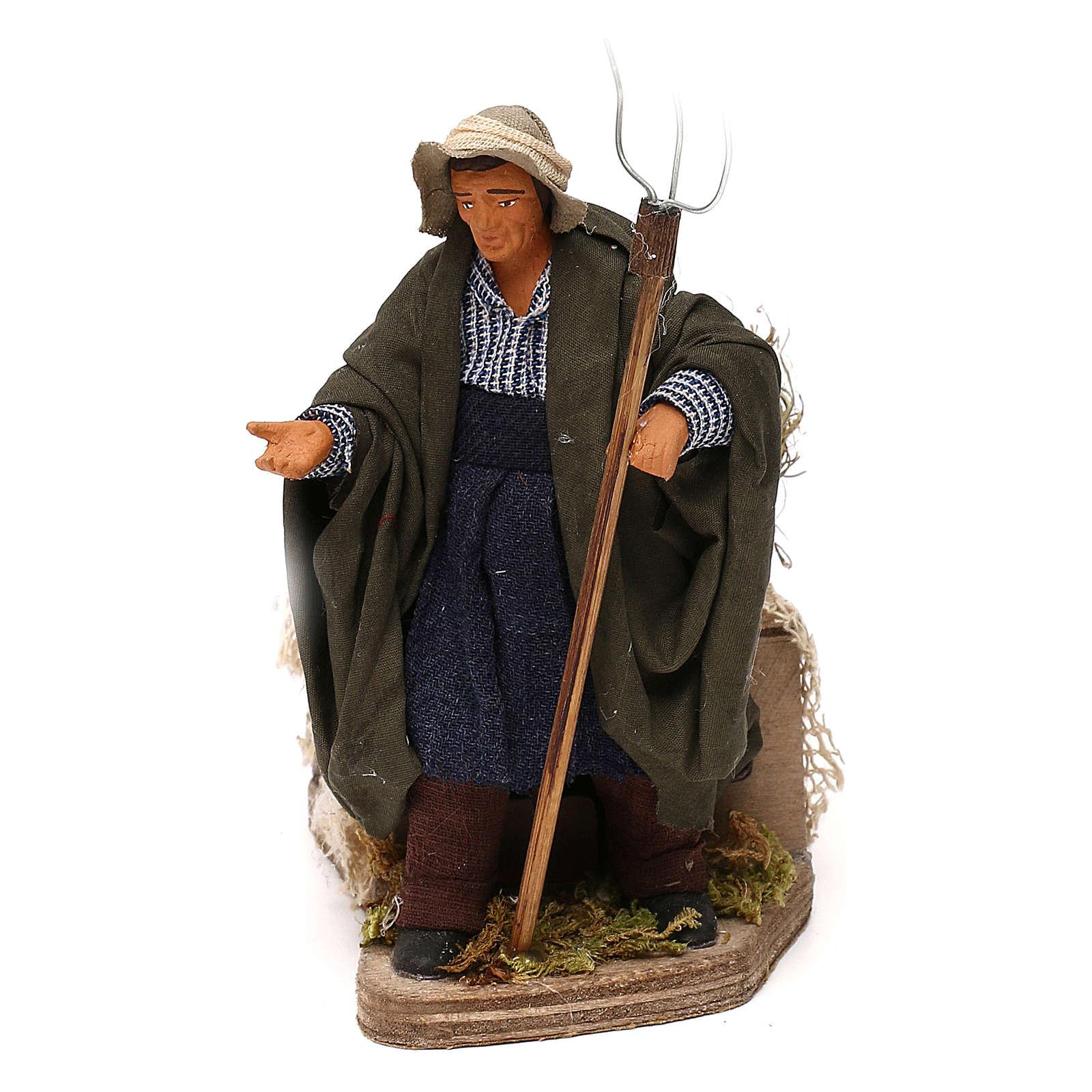 Animated Nativity scene figurine, farmer, 12 cm 4