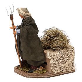 Animated Nativity scene figurine, farmer, 12 cm s2