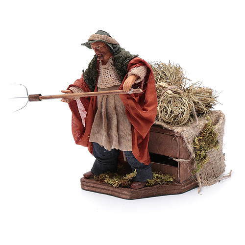 Animated Nativity scene figurine, farmer, 12 cm 2
