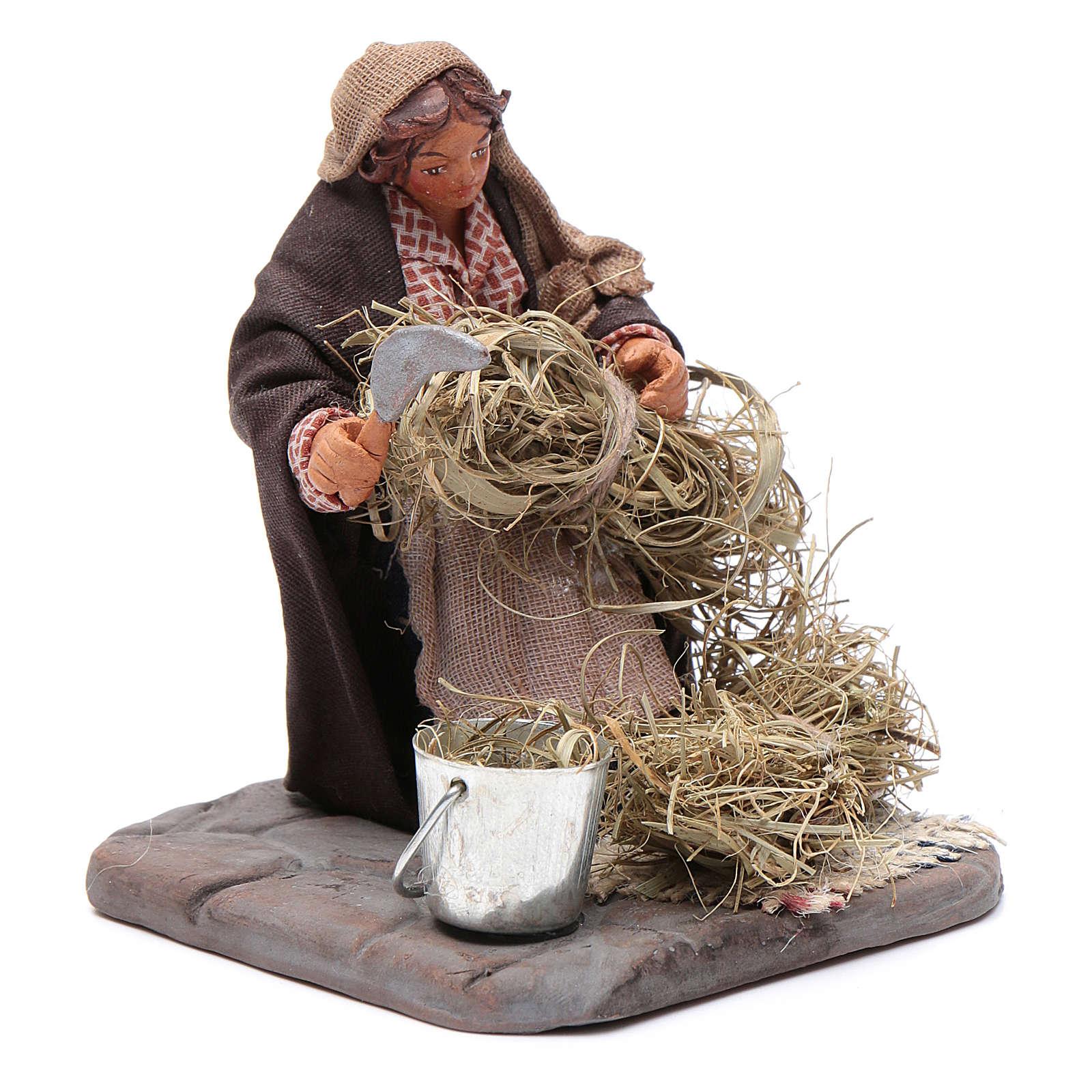 Neapolitan Nativity figurine, woman with sickle, 10 cm 4