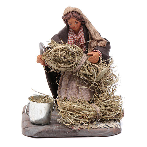 Neapolitan Nativity figurine, woman with sickle, 10 cm 1