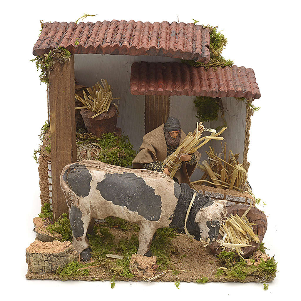 Animated manger scene setting, cowshed 8 cm 3