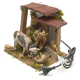 Animated manger scene setting, cowshed 8 cm s3