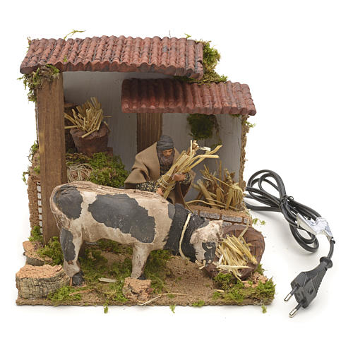 Animated manger scene setting, cowshed 8 cm 4