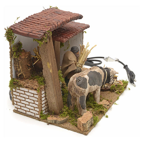 Animated manger scene setting, cowshed 8 cm 5