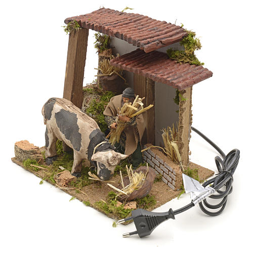 Animated manger scene setting, cowshed 8 cm 6
