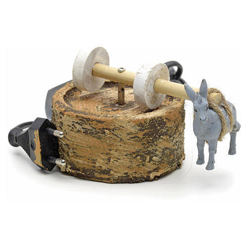 Animated nativity scene figurine, grindstone with donkey 12cm 1