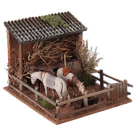 Animated nativity figurine, stable with moving horses 15x23x20cm s3