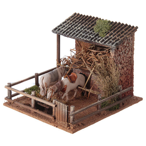 Animated nativity figurine, stable with moving horses 15x23x20cm 2