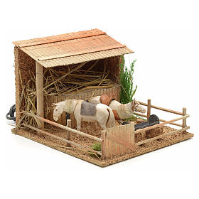 Animated nativity figurine, stable with moving horses 15x23x20cm s2