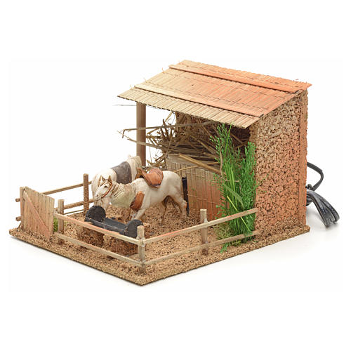 Animated nativity figurine, stable with moving horses 15x23x20cm 3
