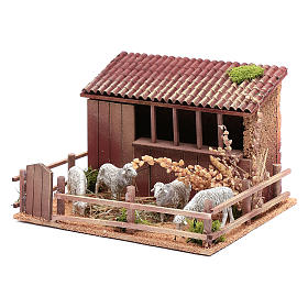 Animated nativity figurine, sheepfold with moving sheep 14.5x23x s2