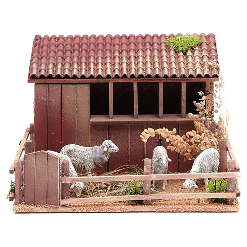 Animated nativity figurine, sheepfold with moving sheep 14.5x23x 1