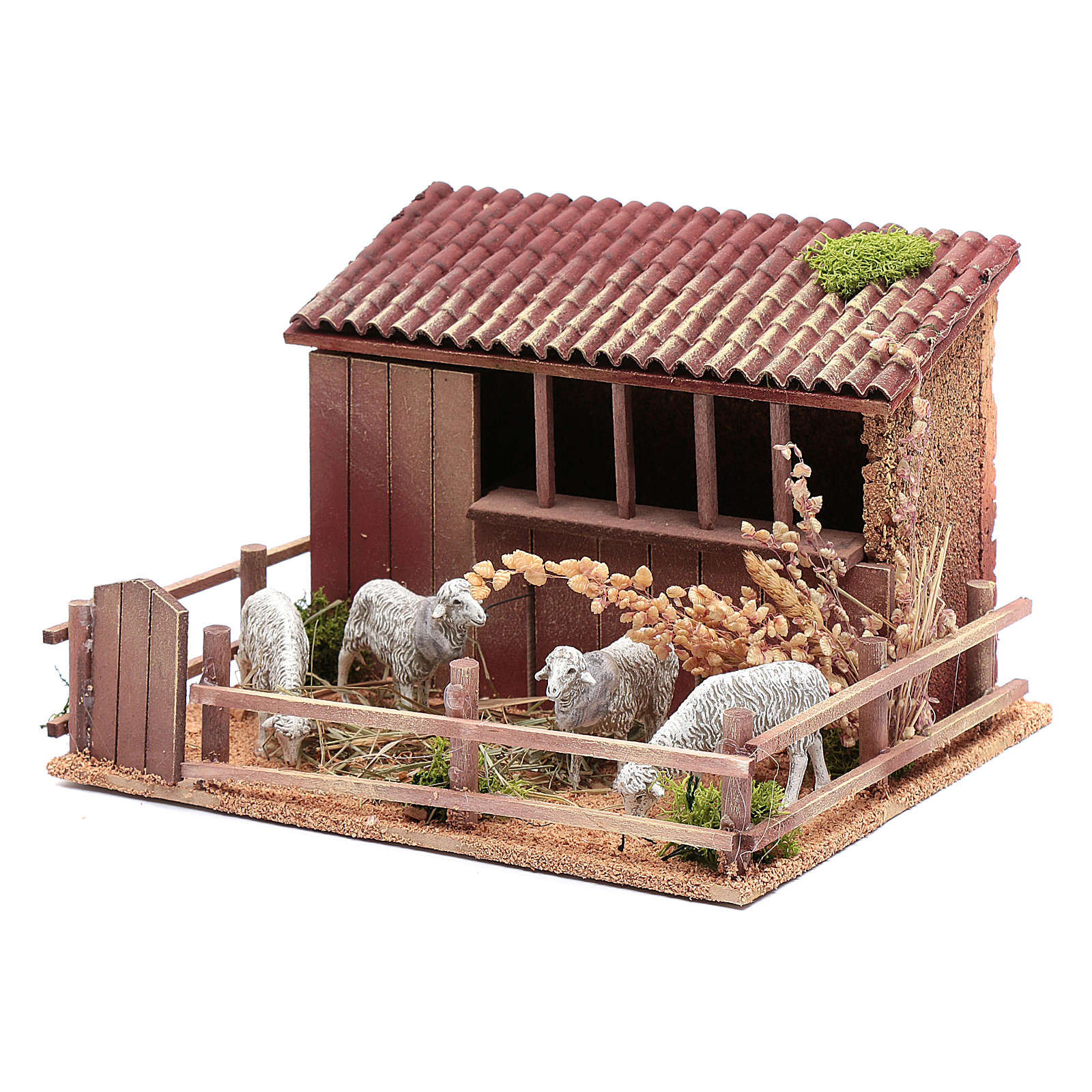 Animated nativity figurine, sheepfold with moving sheep 14.5x23x 3