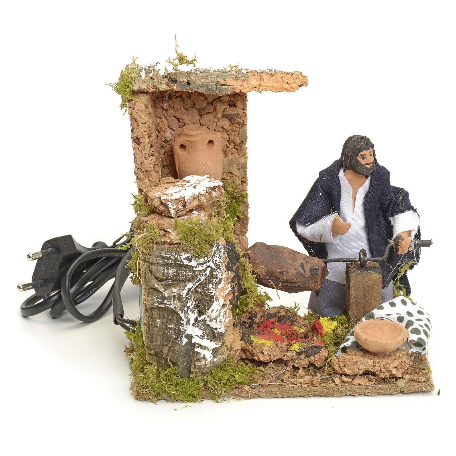 Animated manger scene setting, barbeque 8 cm 3