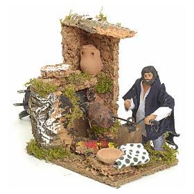 Animated manger scene setting, barbeque 8 cm s2