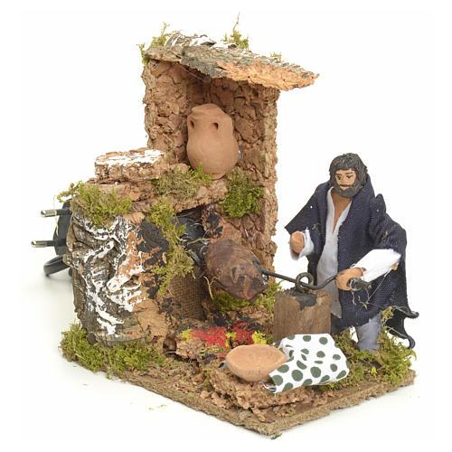 Animated manger scene setting, barbeque 8 cm 2