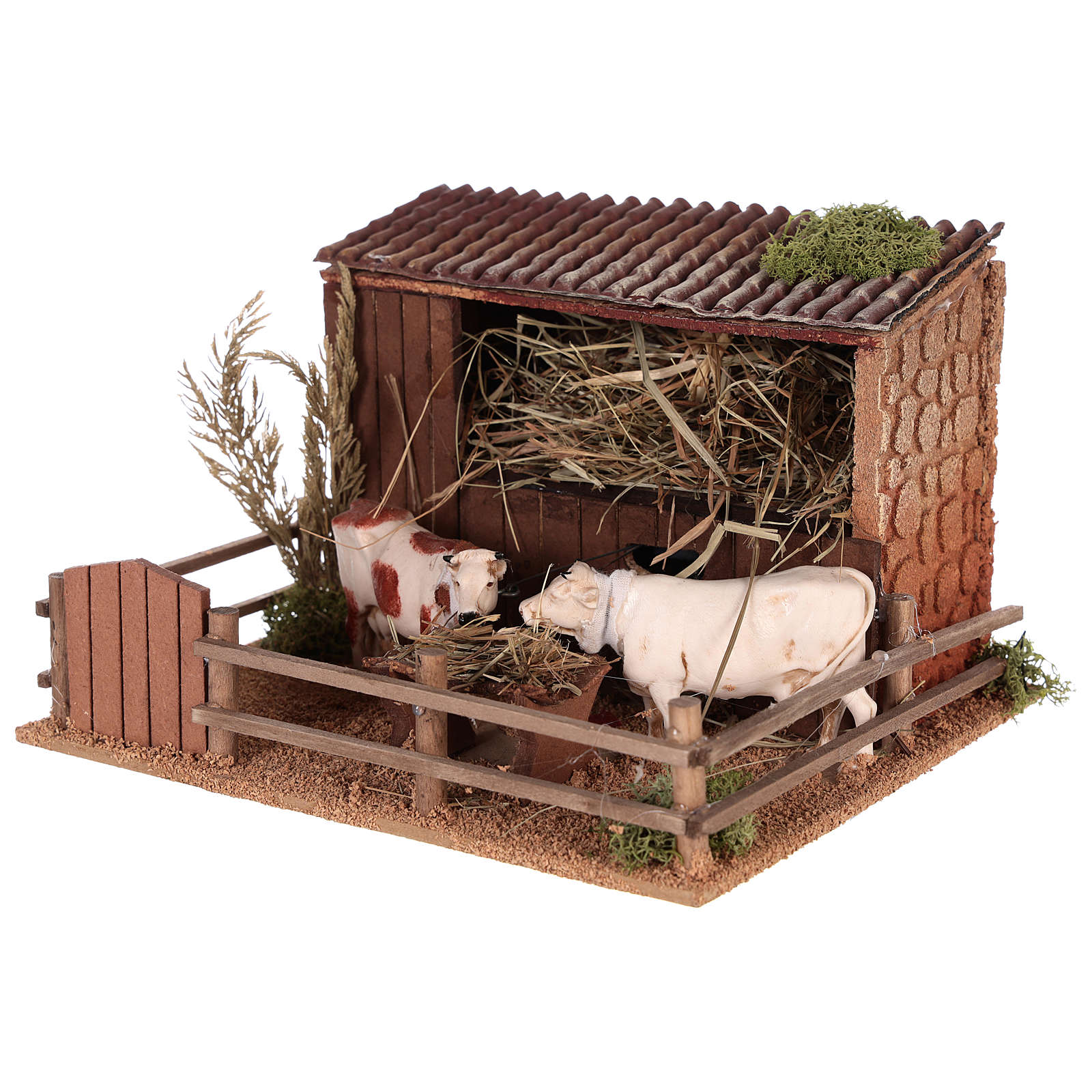 Animated nativity scene figurine, cows in the cattle-shed 3