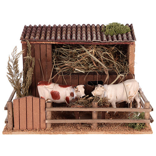 Animated nativity scene figurine, cows in the cattle-shed 1