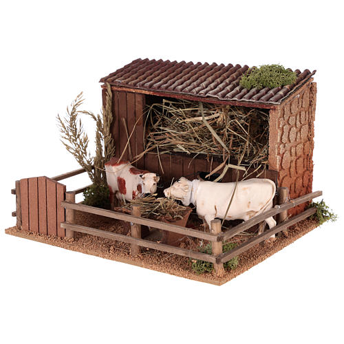 Animated nativity scene figurine, cows in the cattle-shed 2