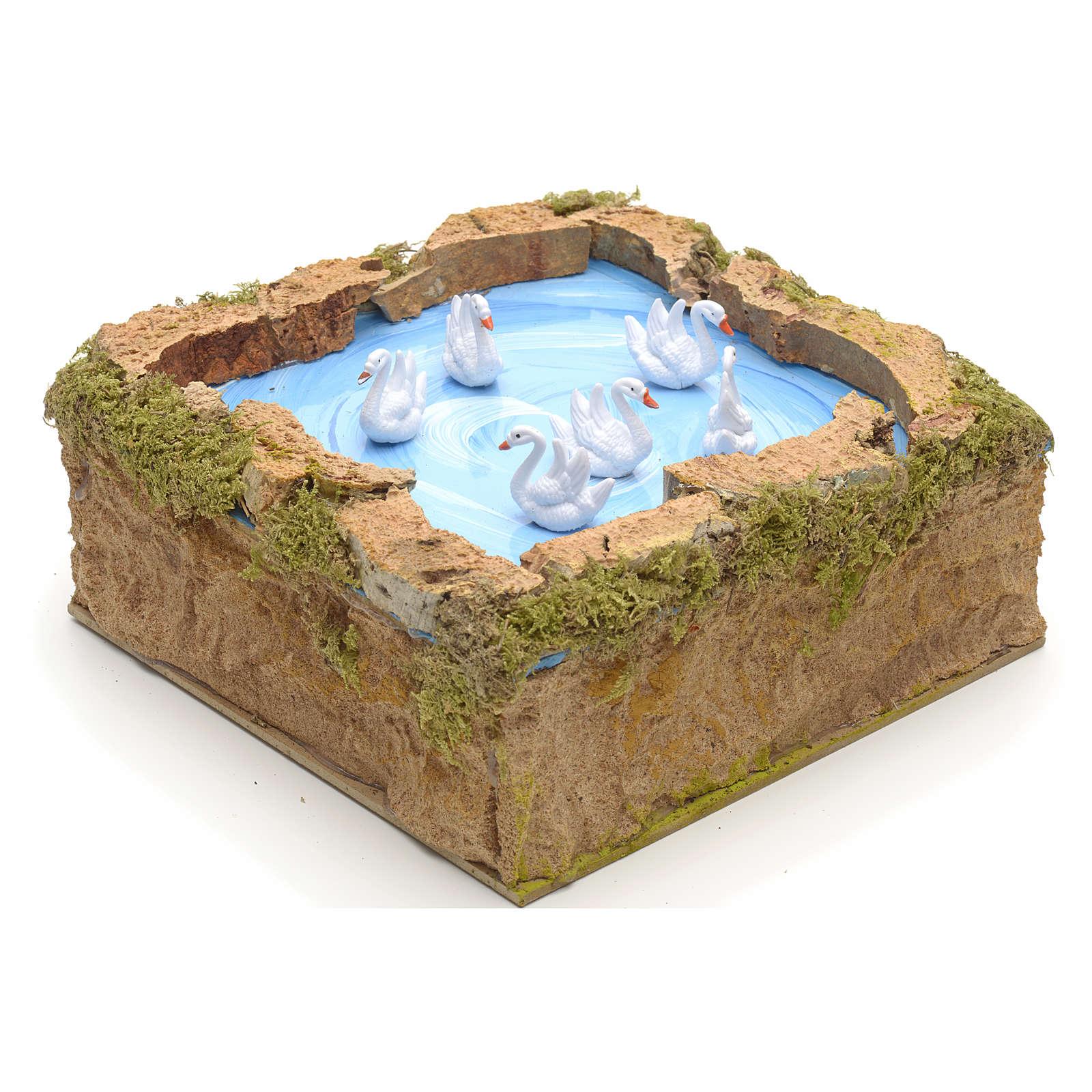 Animated nativity scene figurine, lake with moving swans 5x20x20 3