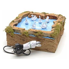 Animated nativity scene figurine, lake with moving swans 5x20x20 s3