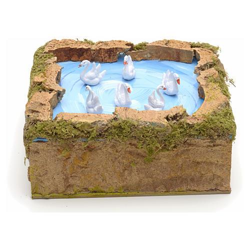 Animated nativity scene figurine, lake with moving swans 5x20x20 1