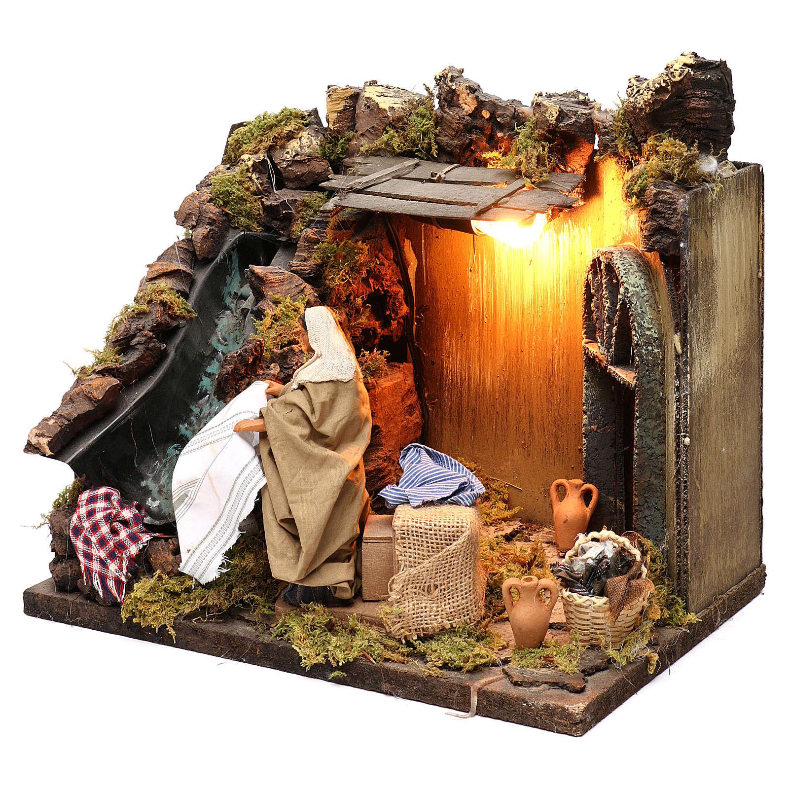 Animated Nativity scene figurine, laundress, 12 cm 4