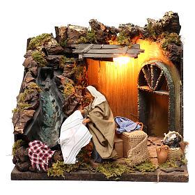 Animated Nativity scene figurine, laundress, 12 cm s1