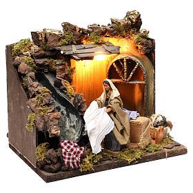 Animated Nativity scene figurine, laundress, 12 cm s3