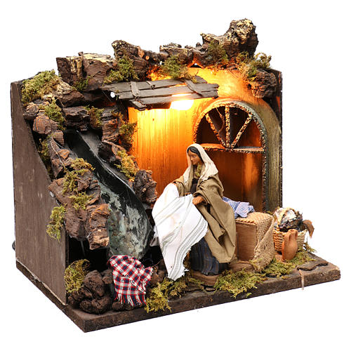 Animated Nativity scene figurine, laundress, 12 cm 3