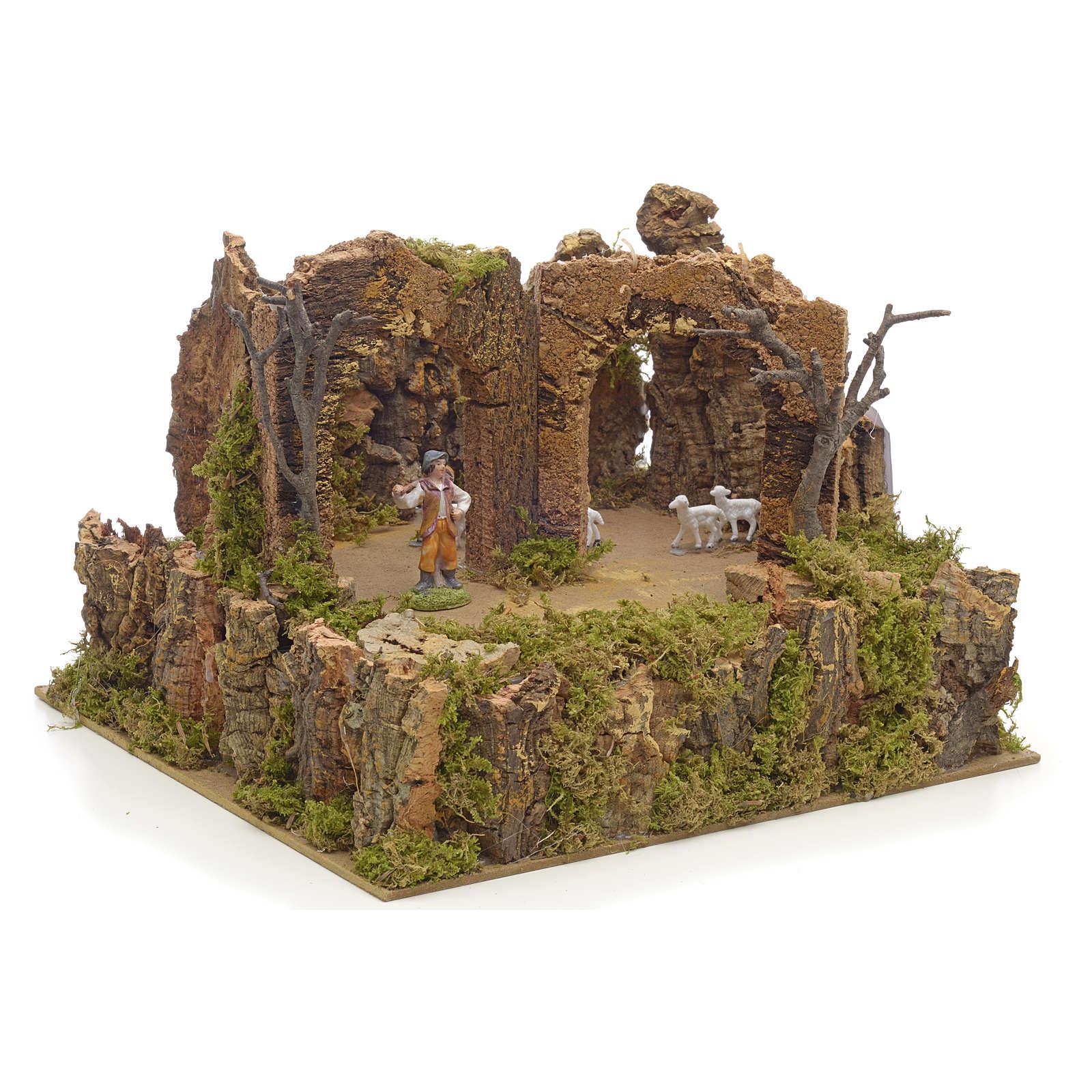Animated nativity scene figurine, 6cm sheep and shepherd 3