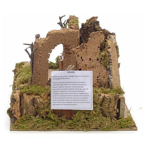 Animated nativity scene figurine, 6cm sheep and shepherd 2