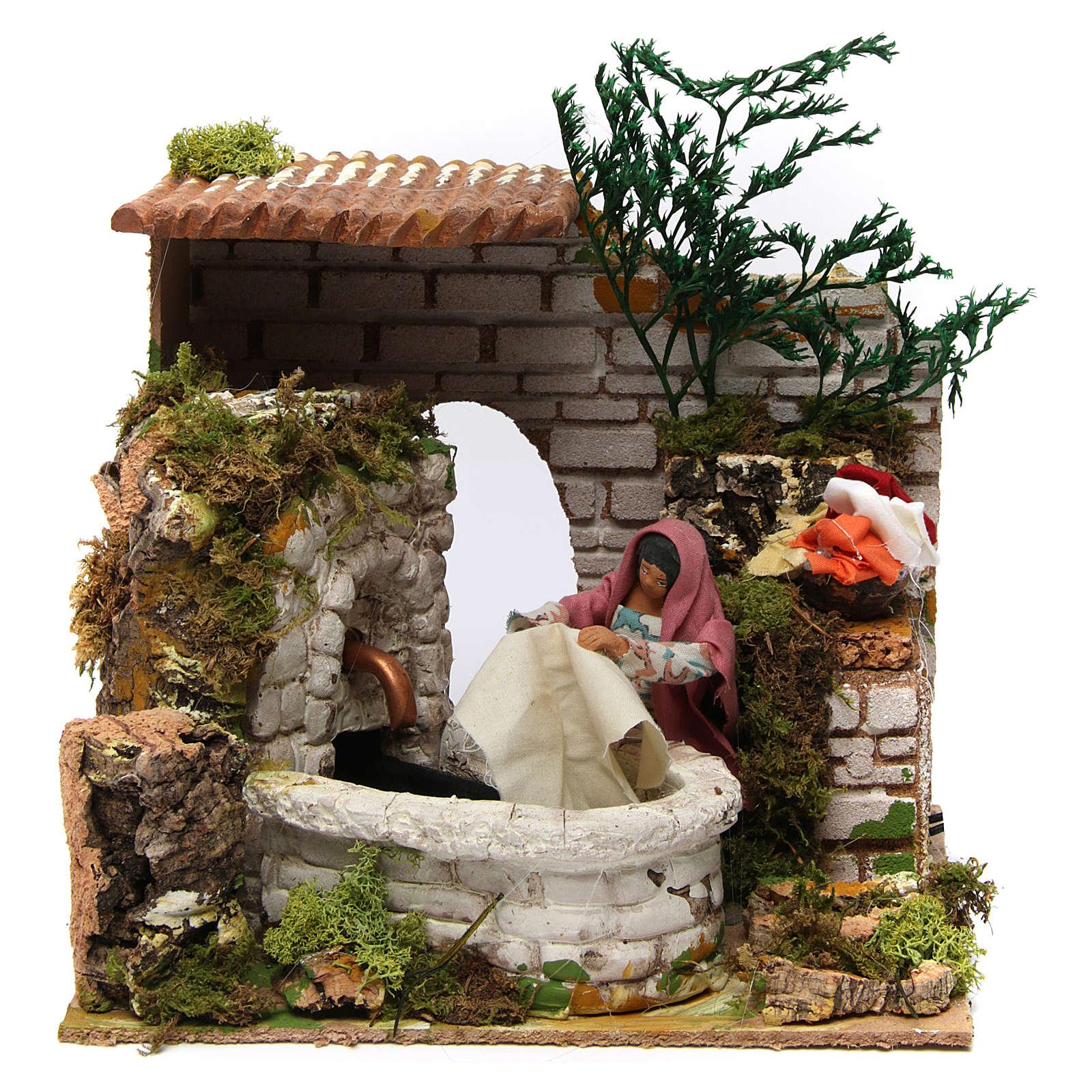 Milieu lavandière animée 12 cm avec fontaine 3