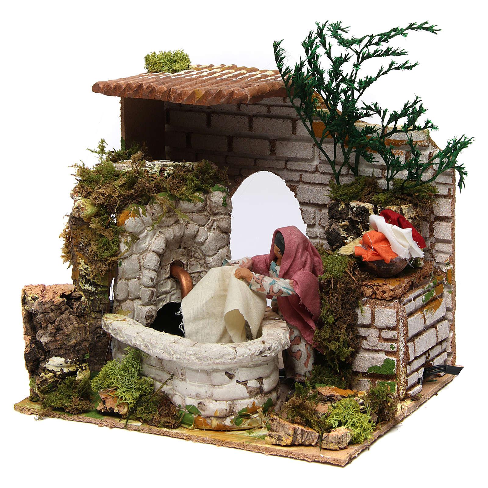Animated nativity scene figurine,12 cm washerwoman with fountain 3