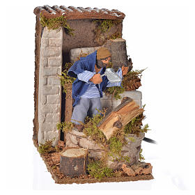 Animated Nativity Scenes: Animated nativity scene figurine, 6cm woodcutter 14x9cm
