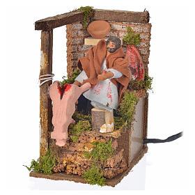 Animated nativity scene figurine, 8cm butcher 14x9cm s4