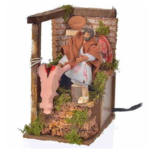 Animated nativity scene figurine, 8cm butcher 14x9cm 4