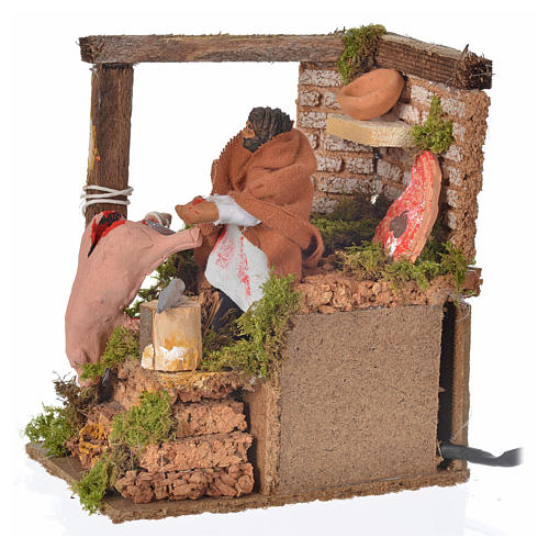 Animated nativity scene figurine, 8cm butcher 14x9cm 5