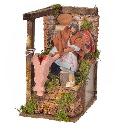 Animated nativity scene figurine, 8cm butcher 14x9cm 1