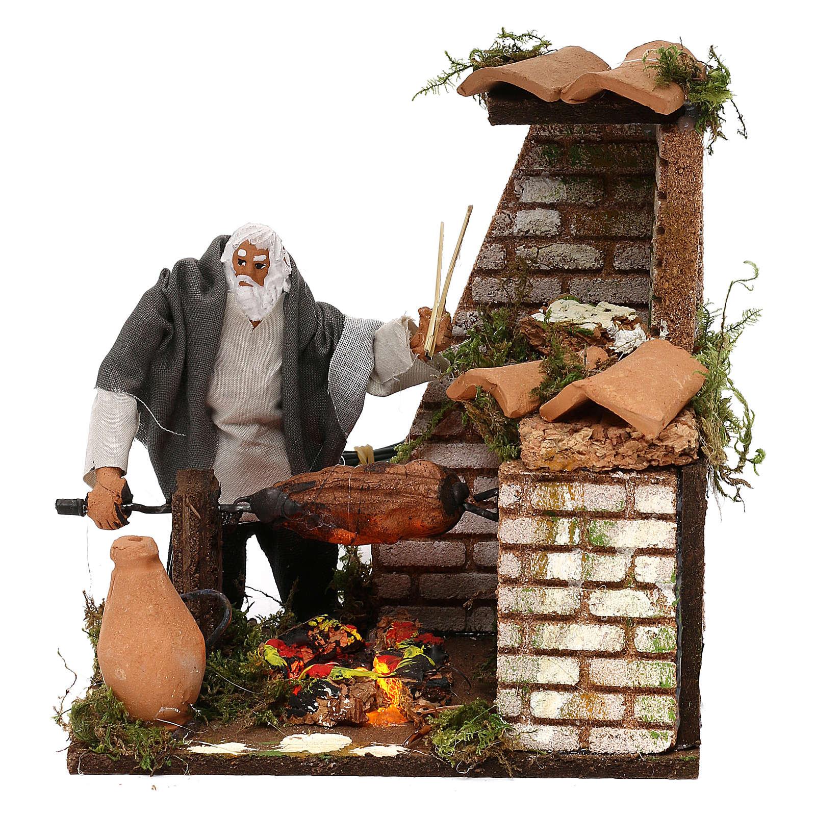 Animated nativity scene figurine, 8cm shepherd with roasting jac 3