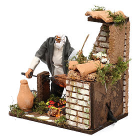 Animated nativity scene figurine, 8cm shepherd with roasting jac s2