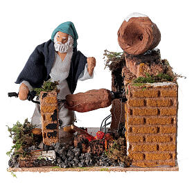 Animated nativity scene figurine, 8cm shepherd with roasting jac s1