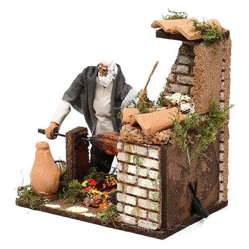 Animated nativity scene figurine, 8cm shepherd with roasting jac 2