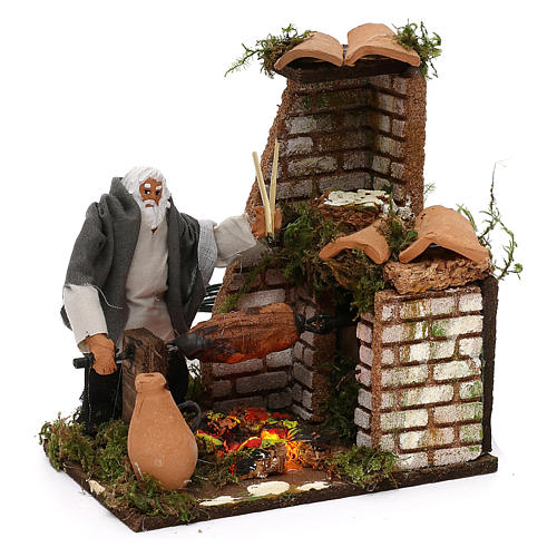 Animated nativity scene figurine, 8cm shepherd with roasting jac 3