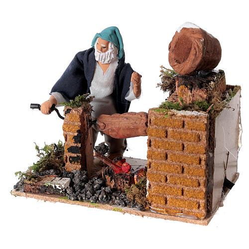Animated nativity scene figurine, 8cm shepherd with roasting jac 2